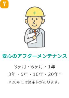 安心のアフターメンテナンス 3ヶ月・6ヶ月・1年・3年・5年・10年